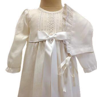 Dopklänning Med Dophätta, Lång ärm, Bred Vit Rosett. Grace Of Sweden