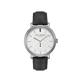 Ted Baker Trent Quartz White Dial Black Leather Strap Mens Watch TE15193007