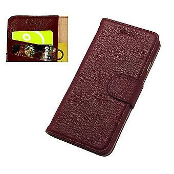 iPhone SE (2020), 8 & 7 lompakko tapauksessa, muoti cowhide kestävä aito nahkakansi, punainen