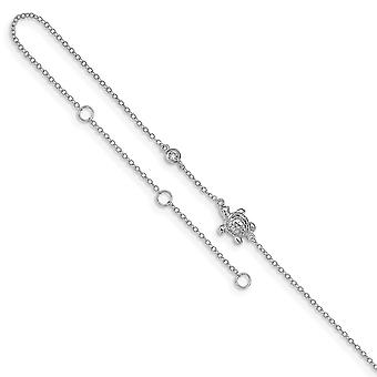 925 Sterling Silver Rhodium plated CZ Cubic Zirconia Simulated Diamond Turtle With 2inch Ext Anklet 9 Inch Jewelry Gifts