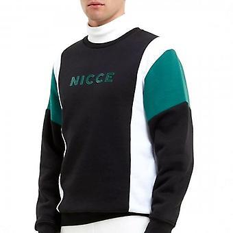NICCE Nicce Alta Crew Neck Sweatshirt Black White Green M04SWT02