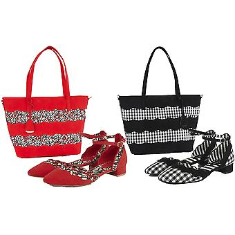 Ruby Shoo Women's Lydia Low Block Heel Shoes & Matching Mijas Shopper Bag