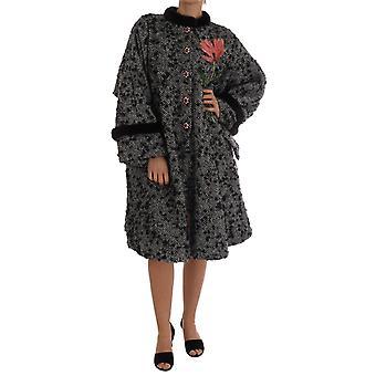 Dolce & Gabbana Black White Crystal Tulip Fur Coat
