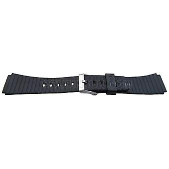 Black resin watch strap 20mm (24mm overall width) stainless steel buckle