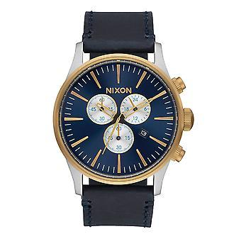 Nixon den Sentry Chrono läder guld / blå Sunray Herrenchronograph (A4051922)