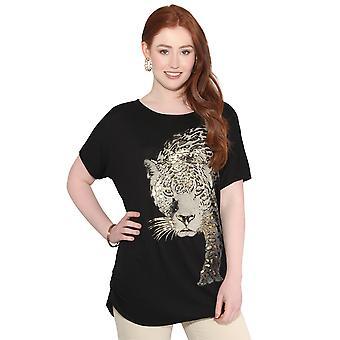 KRISP leopard print oversized T-skjorte