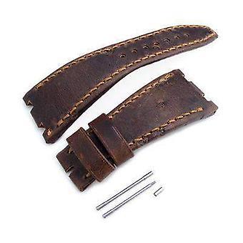 Strap strap en cuir strap noir brun échecs trous cuir de la sangle de montre d'art, fil de cire brun, fait sur mesure pour audemars piguet chêne royal au large