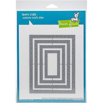 Lawn Fawn Outside In Stiched Scalloped Rectangle Stackables Dies