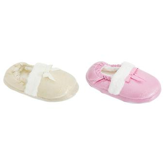 Childrens Girls Faux Fur Trim Glitter Sparkle Slippers