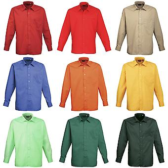 Premier Mens Long Sleeve Formal Plain Work Poplin Shirt