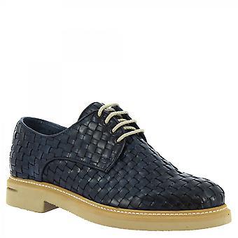 Leonardo Shoes Men's handgemaakte veterschoenen in blauw geweven kalfsleer