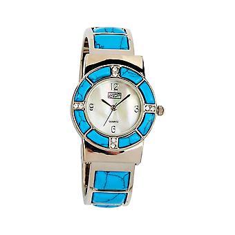 Eton Womens Clip op, Stone Set Bangle Watch. Mock Turquoise Stone - 3164L-TQ