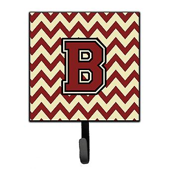 Letter B Chevron Maroon and Gold Leash or Key Holder