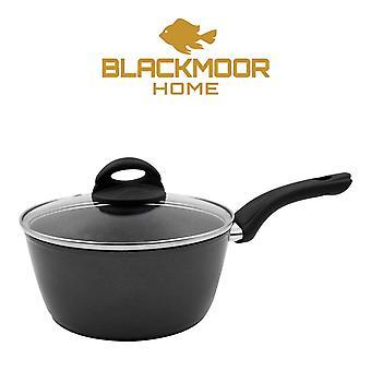 Blackmoor 20cm Non-Stick Saucepan and Lid, Black