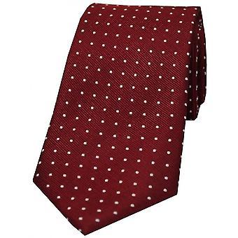 David Van Hagen Pin Dot cravate en soie - vin/White