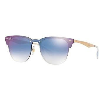 Ray-Ban Blaze Clubmaster RB3576N 043/X0 Brushed Gold Clear Gradient Blue Mirror Red Sunglasses