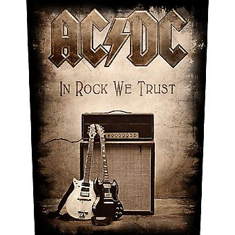 AC/DC Back Patch In Rock We Trust Logo Official New Black Woven (36cm x 29cm)