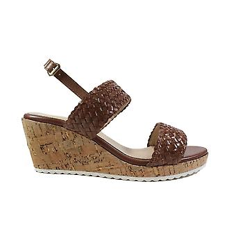 Caprice 28702 Brown Leather Womens Slingback Wedge Sandals