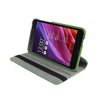 "PU Leather Case 360 Rotating Case for Asus FonePad FE375CG 7""[Green]"