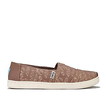 Girl's Toms Junior Foil Feathers Pumps in Brown