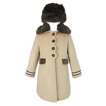 البنات مصمم معطف بيج ومجموعة هات
