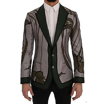 Dolce & Gabbana Gray Green Floral Slim Fit Blazer Jacket