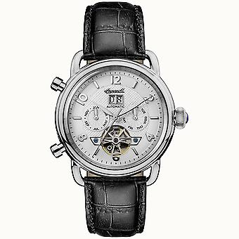 Ingersoll New England Automatic Silver Dial Black Leather Strap Men's Watch I00903