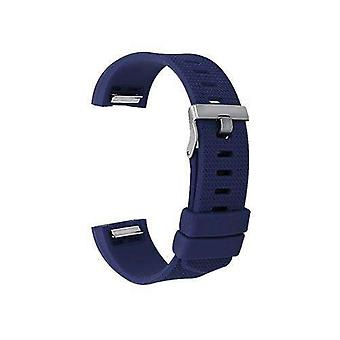 Watch strap for fitbit charge navy blue silicone rubber sizes small and large