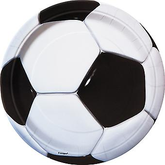 Unique Party 9 Inch 3D Soccer Plates (Pack Of 8)