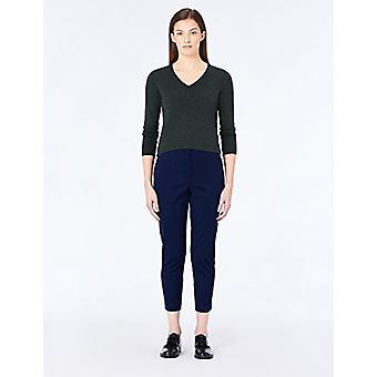 MERAKI Women's Cotton V Neck Sweater, Grey (Charcoal), EU M (US 8)