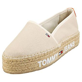 Tommy Jeans Surplus Womens Espadrille Shoes in Light Silt