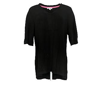 Isaac Mizrahi Live! Women's Sweater Elbow-Sleeve Black A377026