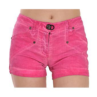Pink Mid Waist Cotton Denim Mini Shorts -- PAN7834160
