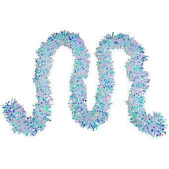 Garland iridescente, comprimento aproximadamente 180 cm branco-azul iridescente festa de garland deco