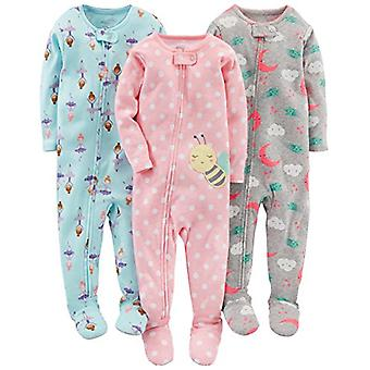 Enkla glädjeämnen av Carter & apos; s Baby Girls & 3-Pack Snug-Fit Footed Cotton Pyjamas, Ba ...