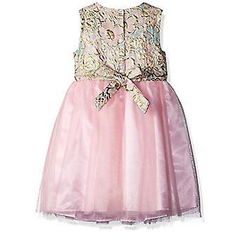 Nannette Girls' Little Brocade mesh Dress, Pink, 6X