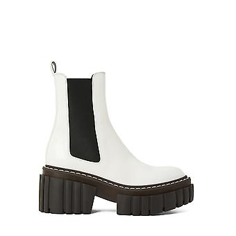 Stella Mccartney 800251n01329000 Dames's Wit/zwart Leren enkellaarsjes