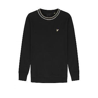 Lyle & Scott Pique Sweatshirt med tippning Jet Black
