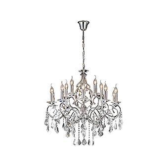 Inspirado Diyas - Torino - Chandelier 15 Light Polished Chrome, Crystal