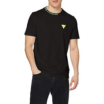 Guess Mens Neck Logo T-Shirt - Black Neon