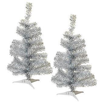 2ft Kunstmatige Kerstboom met Tribune - Zilver