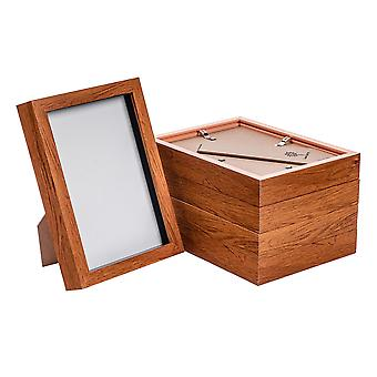 "Nicola Spring Acrylic Box Photo Frame - Dark Wood - 6 x 8"" (A5) - Pack of 5"