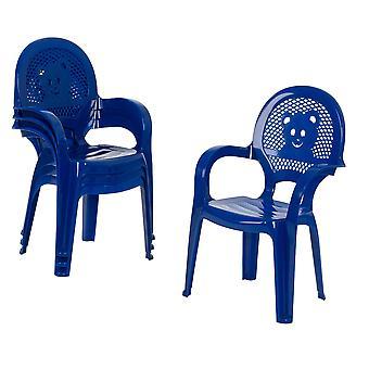 Resol 4 Piece Mini Kids Garden Chair Set - Plastic Outdoor Play Bedroom Children's Furniture - Blue