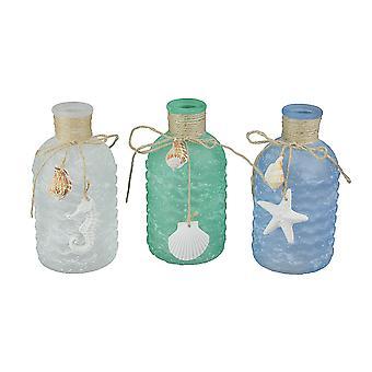 Blue Green White Frosted Sea Glass Style Decorative Bottles Beach Design Coastal Decor Set of 3