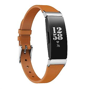 For Fitbit Inspire /Inspire HR Band Luxury Genuine Leather Replacement Wristband[Brown]