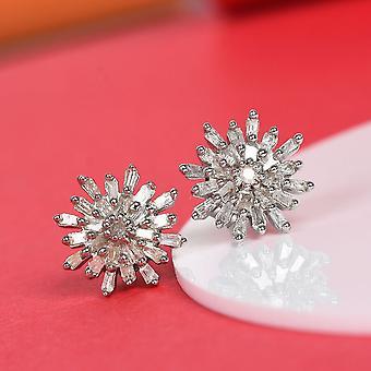 Boucles d'oreilles TJC White Diamond Stud En argent sterling plaqué platine