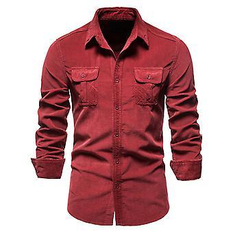 YANGFAN Men's Solid Color Lapel Slim Button Down Shirt