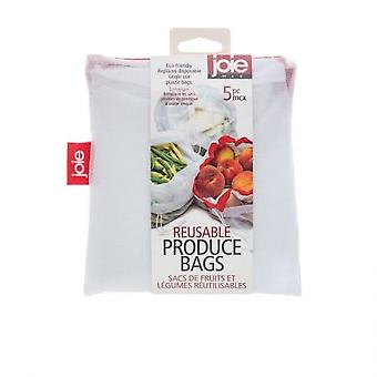 Frugt- og grøntsagsposer, genanvendelige 5 stk.