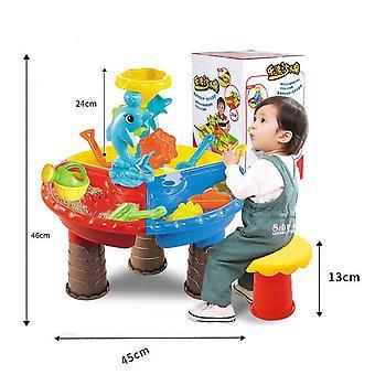 Kids Summer Outdoor Beach Sandpit Toys, Sand Bucket Water Wheel Table Play Set