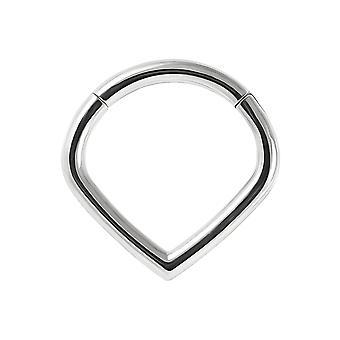 16 Gauge ( 1.2MM ) - 8MM Diameter Teardrop Shape 316L Surgical Steel Hinged Clicker Segment Ring Ear Septum Tragus Helix Piercing Jewellery